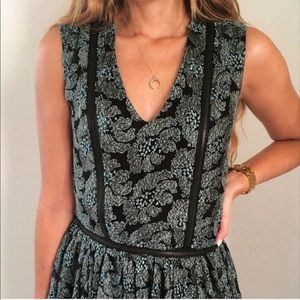 ALEXIS Green Floral Lace Zip Detail Dress